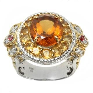 Michael Valitutti Two-tone Gold Over Silver Madiera Citrine, Golden Citrine and Orange Sapphire Ring
