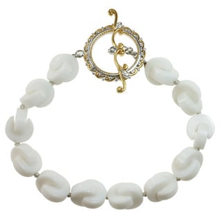 M.V. Jewels Two-tone Gold Over Silver White Agate 'Crescent' Bead Bracelet