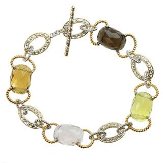 Michael Valitutti Two-tone Gold Over Silver Smoky Quartz, Oro Verde, Pink Amethyst and Citrine Bracelet