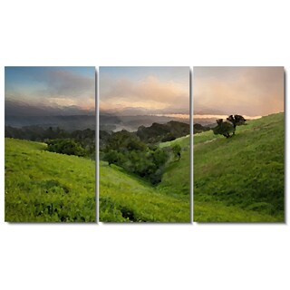 Studio Works Modern 'Rolling Hills at Daybreak' 3-panel Fine Art Gallery Wrapped Canvas Set
