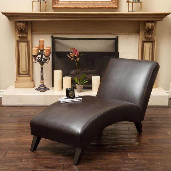 Finlay Leather Chaise Lounge by Christopher Knight Home ...