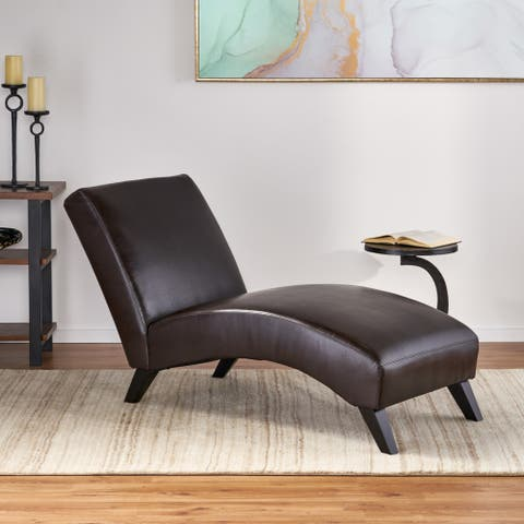 Finlay Leather Chaise Lounge by Christopher Knight Home