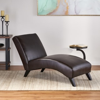 Deals on Finlay Leather Chaise Lounge by Christopher Knight Home