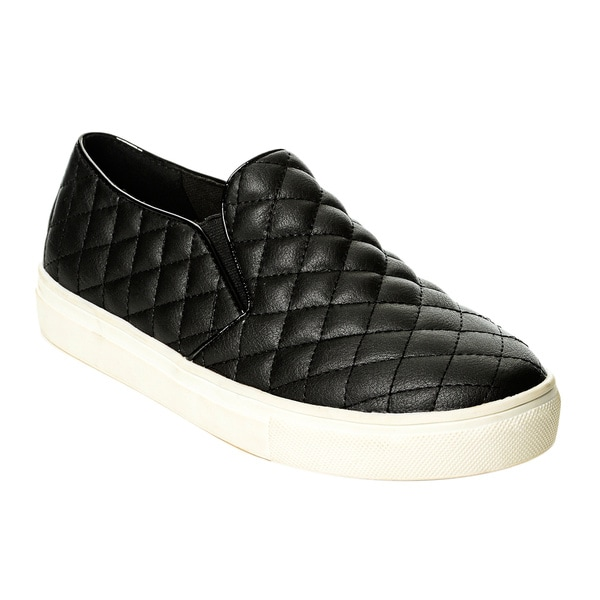 Henry Ferrera Women S Black Quilted Slip On Casual Shoes