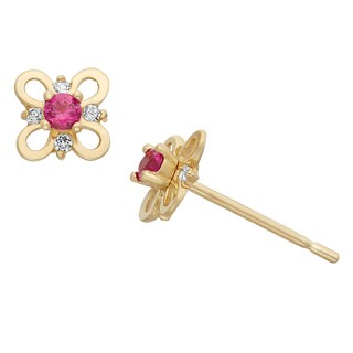 Junior Jewels 14KT Gold CZ Flower Earrings