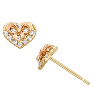 Junior Jewels 14KT Rose & Yellow Gold CZ Heart Ribbon Earrings