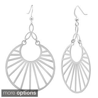 Sterling Essentials 14k Gold Plated Silver Round Mod Drop Earrings