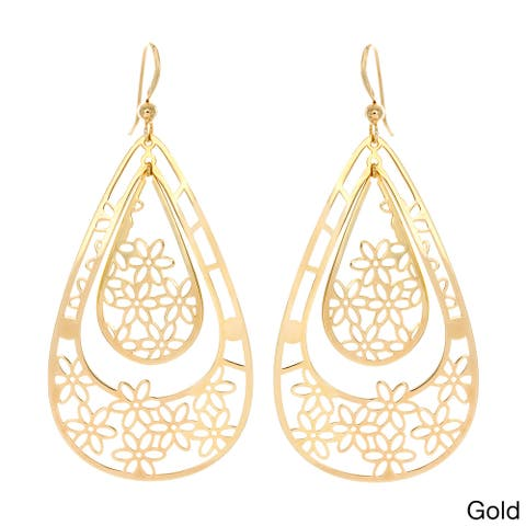 Sterling Essentials 14k Gold Plated Silver Cutout Daisies Drop Earrings