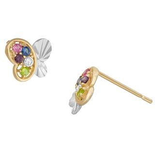 Junior Jewels 14KT White & Yellow Gold Multi Color CZ Butterfly Designer Earrings