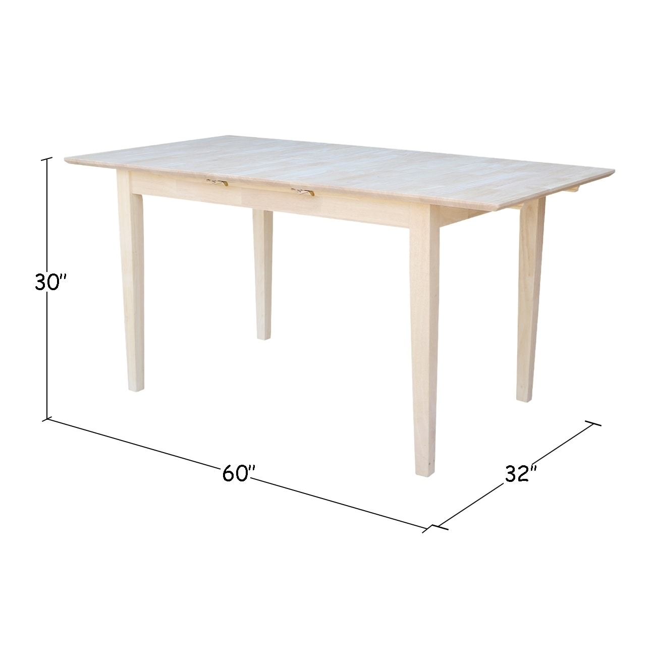International Concepts 32 Inch Wide Unfinished Shaker Style Parawood Dining Table With Erfly Extension