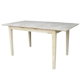 International Concepts 32-inch Wide Unfinished Shaker Style Parawood Dining Table with Butterfly Extension