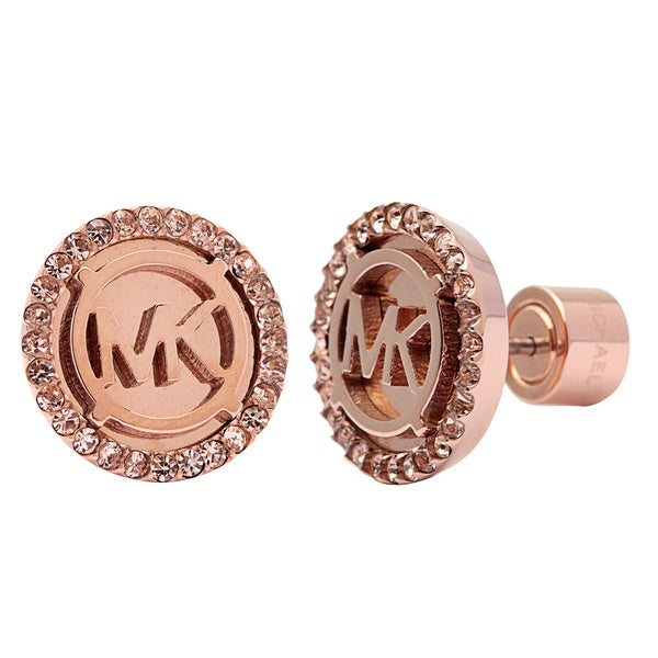 Michael Kors Rose Gold Crystal Stud Earrings Free Shipping Today Overstoc