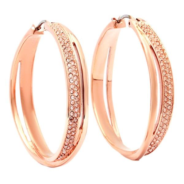7eb4aa45fbec5 Shop Michael Kors Rose Goldtone Crystal Hoop Earrings - Free ...