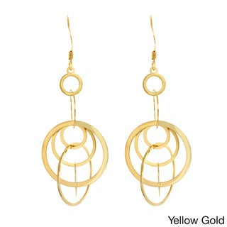 Sterling Essentials 14k Gold Plated Silver Interlocking Circle Drop Earings
