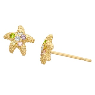 Junior Jewels 14KT Gold Multi Color CZ Designer Starfish Earrings