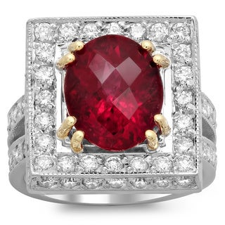 14k Two-tone Gold 1 1/2ct TDW Diamond and 4 1/10ct Rubelite Ring (E-F, VS1-VS2)