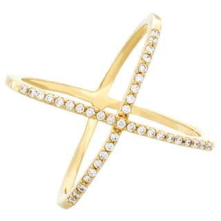 Sterling Essentials Silver CZ X Criss-Cross Ring|https://ak1.ostkcdn.com/images/products/9310734/P16471725.jpg?impolicy=medium