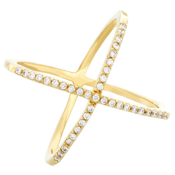 .925 Sterling Silver Sparkling Cz  Criss Cross Crossover Double X Ring