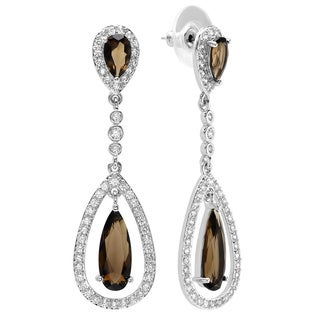 Sterling Essentials Smoky Cubic Zirconia Pear Dangle Earrings