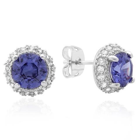 Roberto Martinez Silver Round Purple Cubic Zirconia Stud Earrings