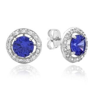 Sterling Essentials Silver Purple CZ Halo Stud Earrings