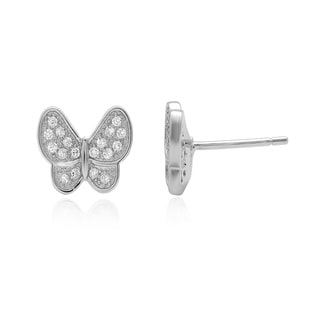 Sterling Essentials Silver Cubic Zirconia Butterfly Stud Earrings
