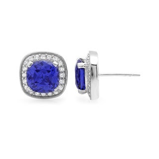Sterling Essentials Silver/ Purple Cubic Zirconia Cushion Stud Earrings