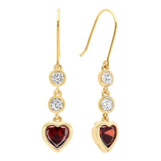 Sterling Essentials Gold over Silver Cubic Zirconia Drop Earrings