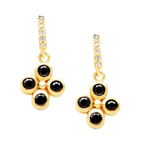 Roberto Martinez Goldplated Silver Black Cubic ZIrconia Clover Dangle Earrings