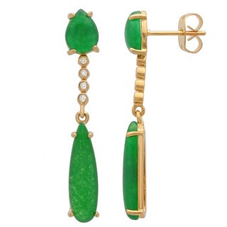Sterling Essentials Gold Plated Silver Green Jade Dangle Earrings
