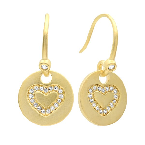 Gold Plated Sterling Silver Cubic Zirconia Heart Medallion Dangle Earrings