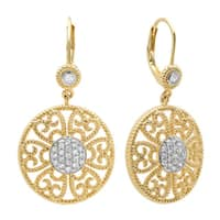 Sterling Essentials Gold Plated Silver Cubic Zirconia Round Filigree Dangle Earrings