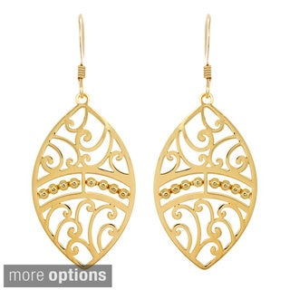 Sterling Essentials 14k Goldplated Silver Oval Cutout Dangle Earrings