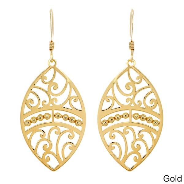 14k Goldplated Sterling Silver Oval Cutout Dangle Earrings