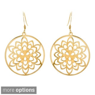 14k Goldplated Sterling Silver Round Blossom Cut-out Drop Earrings
