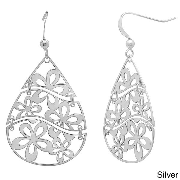 Goldplated Sterling Silver 3-Piece Floral Cut-Out Dangle Earrings