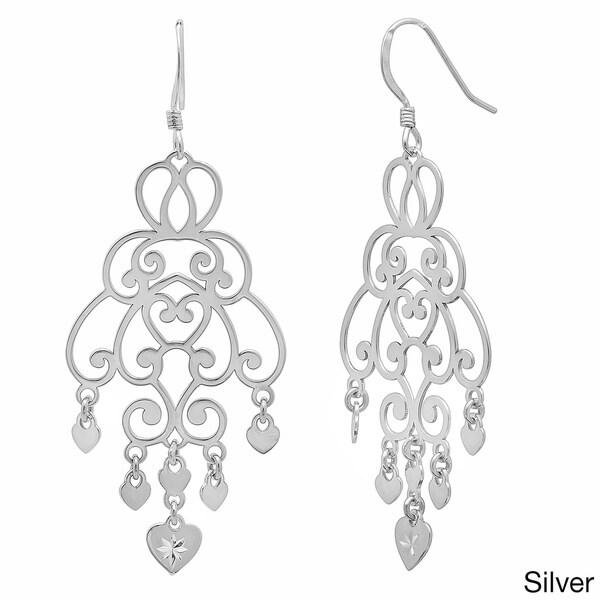 Goldplated Sterling Silver Cut-Out Heart Charm Chandelier Dangle Earrings