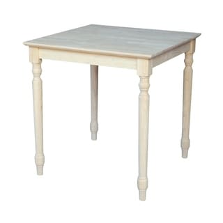 30-inch Unfinished Turned Style Parawood Square Dining Table