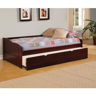 Sisak Cherry Finish Twin Daybed with Twin Trundle