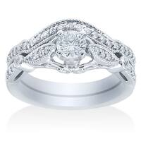 14k White Gold 1 1/5ct TDW Vintage Diamond Bridal Set