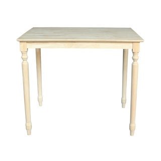 Unfinished Counter Height Turned-leg Rectangular Parawood Dining Table