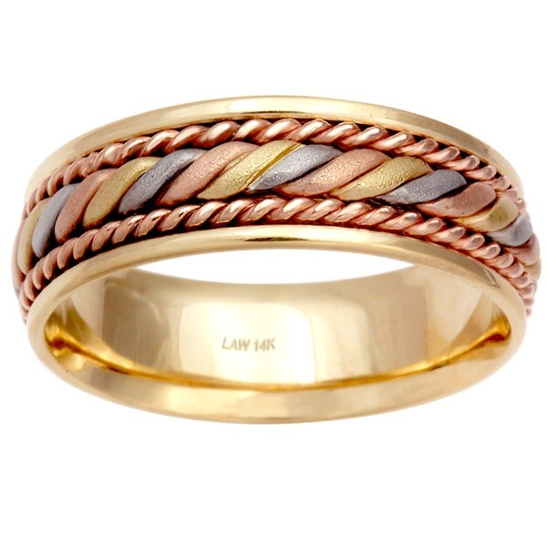 14k Tri Color Gold Men X27 S Comfort Fit Handmade Wedding Band