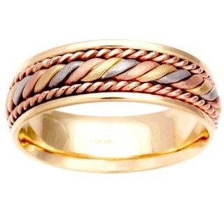14k Tri-color Gold Men's Comfort-fit Handmade Wedding Band