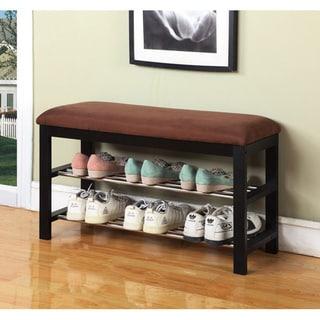 plush vinyl metal and wood shoe rack bench