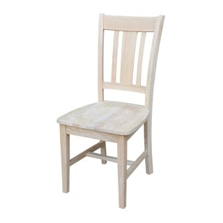 Unfinished Solid Parawood San Remo Slat Back Dining Chair (Set of 2)