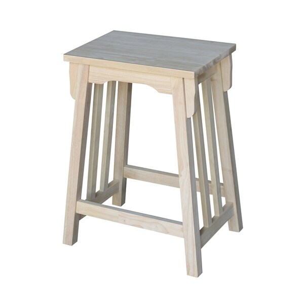 24 Inch Unfinished Solid Parawood Mission Counter Stool