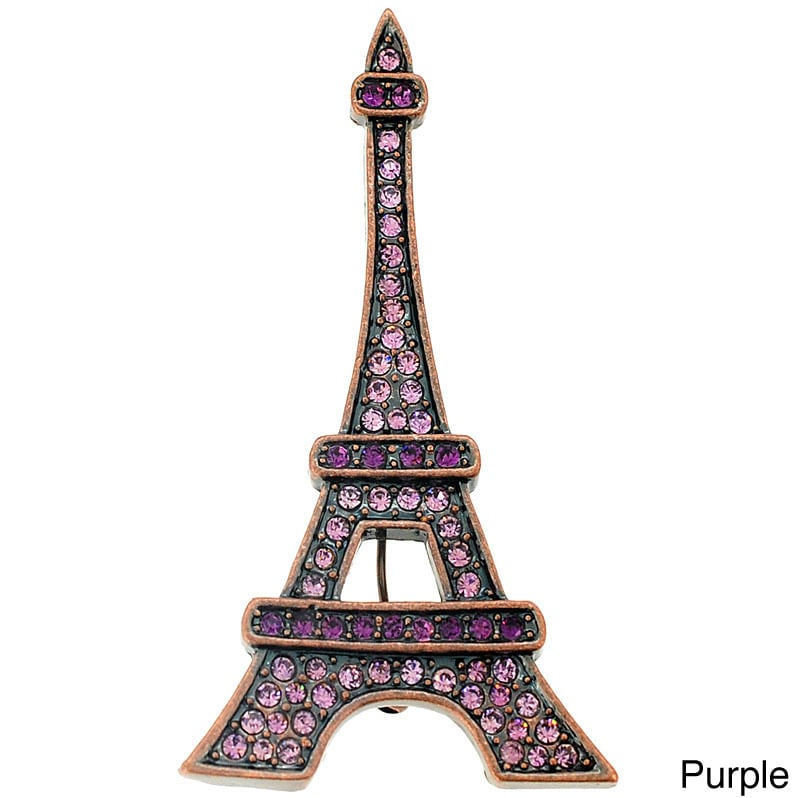 Base Metal Cubic Zirconia Paris Eiffel Tower Brooch (Purp...