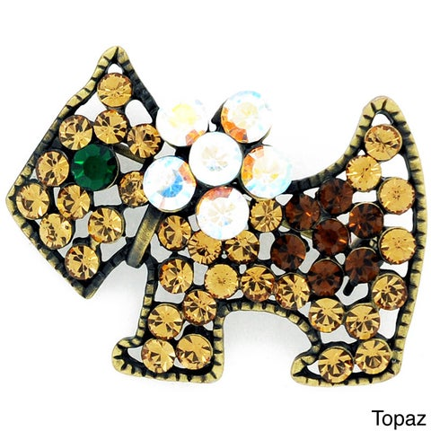 Topaz-color Dog Rhinestone Brooch