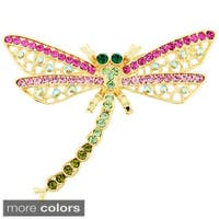 Goldplated or Silverplated Metal Crystal Dragonfly Pin Brooch and Pendant