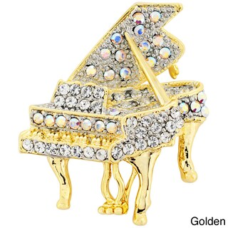 Gold or Silverplated Metal Cubic Zirconia Piano Pin Brooch (Option: Two-Tone)